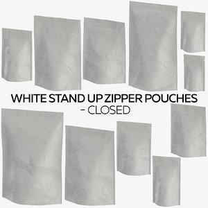 white stand zipper pouches 3D model