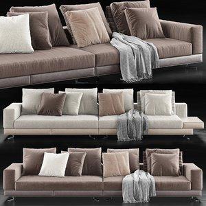 3D minotti white sofa