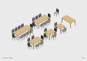 parametric revit dining table 3D model