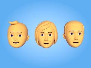 3D model faces emoticons
