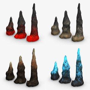 3D set stalagmites - combining