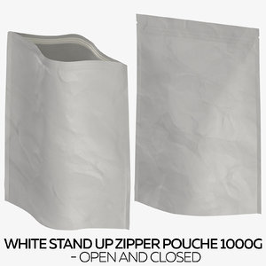white stand zipper pouche 3D model