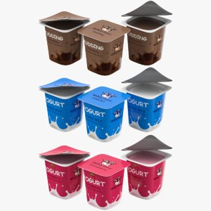 yogurt plastic cup pudding 3D model