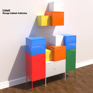 ikea lixhult storage cabinets 3d model