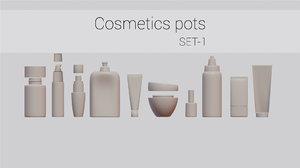 cosmetic pots 10 3D