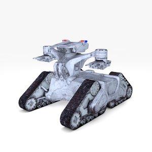 3D robot tank policeman rigged model