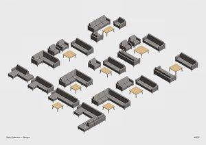3D parametric sofa model