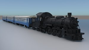 3D locomotive wagons model
