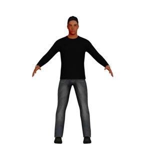 3D latino man rigged model