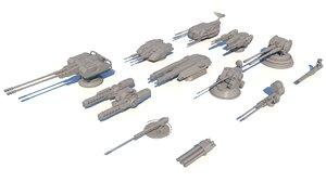 sci-fi guns set 3D model