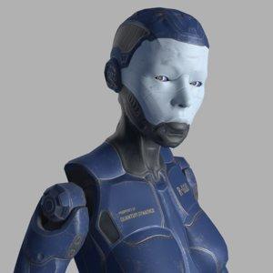 3D female robot model