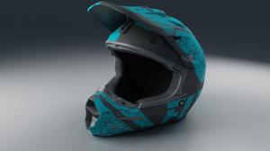 3D moto helmet blue