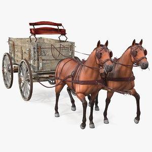 pair horses pulling wagon model
