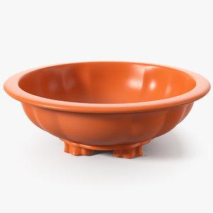3D wide shallow flower pot