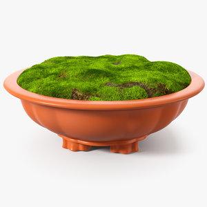 3D flower pot soil fur model