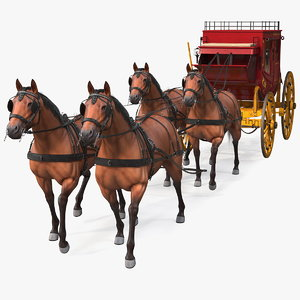 stagecoach horses stage fur 3D model