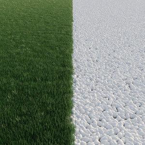 lawngrass pebbles road 3D model