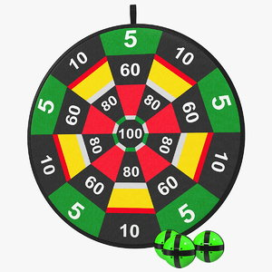 velcro dartboard set board 3D model