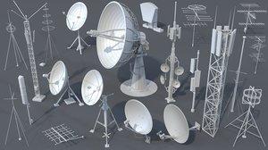 21 pieces antennas 3D model