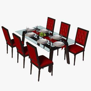 dining set table 3D model