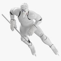 Hummanoid Hockey Player With Stick Pose 03 White