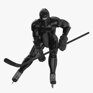 3D hummanoid hockey player wtih model