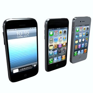 3 phones 3D model