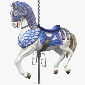 3D carousel horse blue model