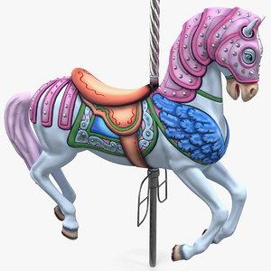 carousel horse pink 3D
