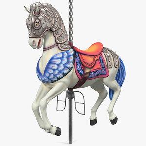 carousel horse white 3D model