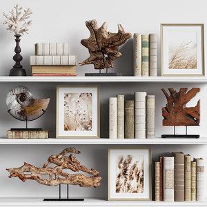 decor set books 3D model