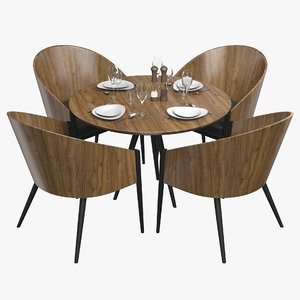 3D model restaurant table tableware