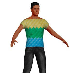3D adult latino male rigged