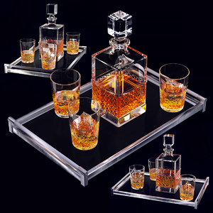 3D whiskey set decanter glass