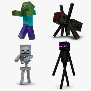3D model minecraft characters rigged 2