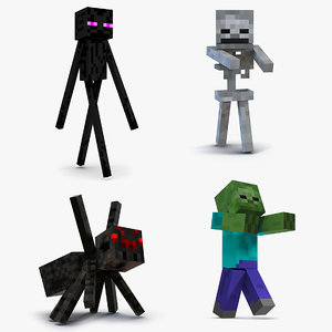 3D minecraft characters rigged 2