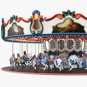 amusement park carousel rigged model