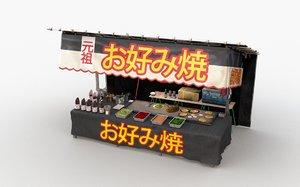 3D model japanese street stall 0004