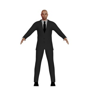 3D adult caucasian male