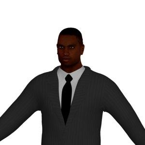 adult black man rigged character 3D model