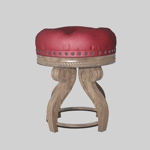 3D baroque stool elegant wood