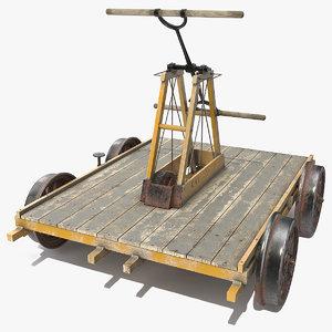 kalamazoo vintage railway handcar 3D model