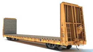 3D model bulkhead flat rail car