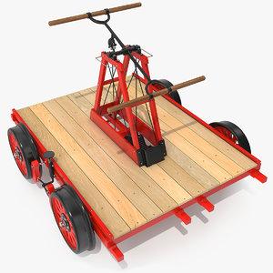3D railway handcar rigged car