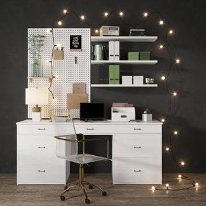 workplace desk 3D model