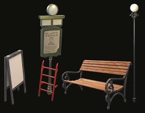 3D model bench pointer stairs stand