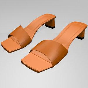 stylish square-toe block-heel sandals 3D