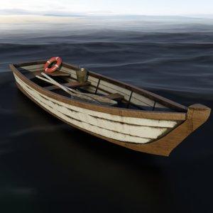 wooden boat ready 3D model