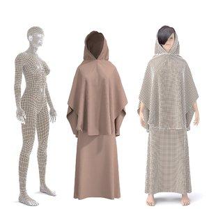 3D model character arabian cloth
