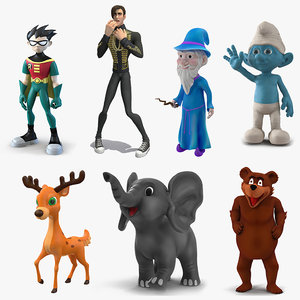 3D cartoon rigged characters 4 model